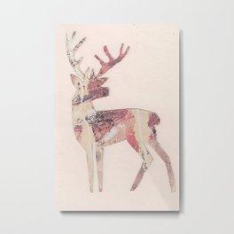 Deer silhouette Rose Metal Print
