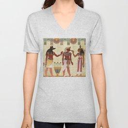 egyptian design man woman priest Unisex V-Neck