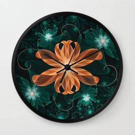 Alluring Turquoise and Orange Tiger Lily Flower Wall Clock