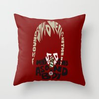 soul eater Throw Pillows featuring maka albarn soul eater by Rebecca McGoran