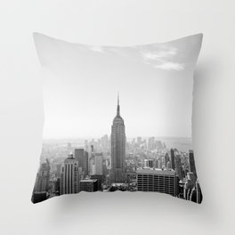 Manhattan - Empire State Building Panorama | B/W Throw Pillow