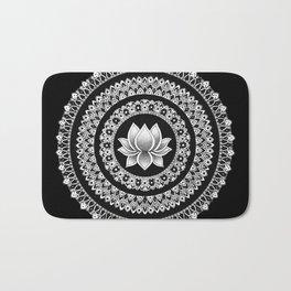 Black and White Lotus Mandala Bath Mat