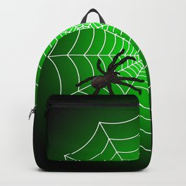 White Spider Web With Spider on Acid Green and Black Backpack