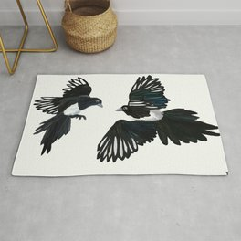 Two for Joy - Magpies in Flight Rug