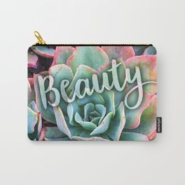 """Beauty"" mint green & pink tipped cactus close-up photo Carry-All Pouch"