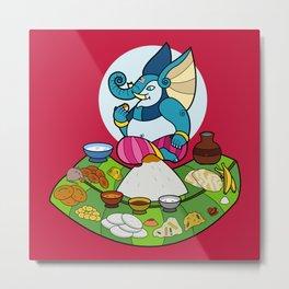 Ganesha's Meal Metal Print