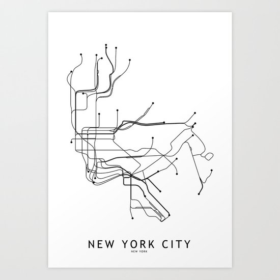 New York City White Subway Map by multiplicity