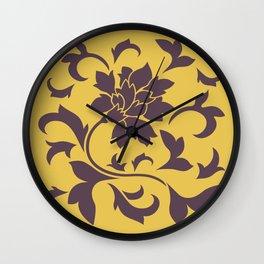 Oriental Flower - Cherry Chocolate Mustard Wall Clock