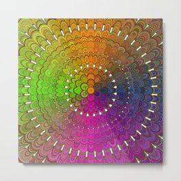 Colorful Floral Mandala Metal Print