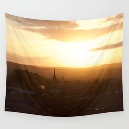 Salisbury Crags overlooking Edinburgh at sunset 3 Wall Tapestry