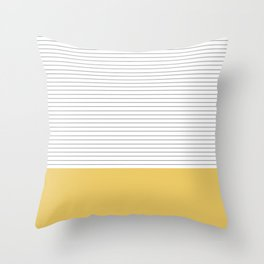 Minimal Gray Stripes - yellow Throw Pillow