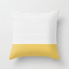 Minimal Gray Stripes - yellow Throw Pillow