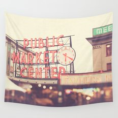 6:20. Seattle Pike Place Public Market photograph Wall Tapestry