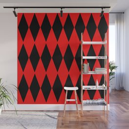 LARGE RED AND BLACK  HARLEQUIN DIAMOND PATTERN Wall Mural