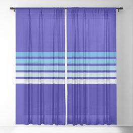 Retro Stripes on Blue Sheer Curtain