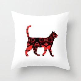 Red flower cat Throw Pillow