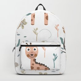 Seamless kids pattern with giraffe, lion and birds Backpack