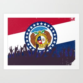 Missouri State Flag with Audience Art Print