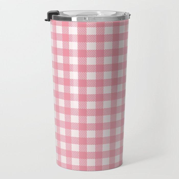 Pastel pink modern geometric check pattern Travel Mug
