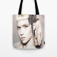 grimes Tote Bags featuring Grimes by LuxuryLivingNYC