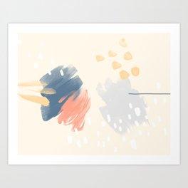 Peach and Blue Art Print