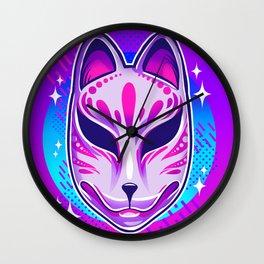 Neon Noh - Kitsune Wall Clock