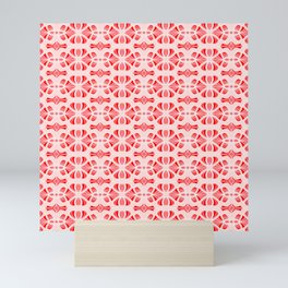 Bubble Gum Pink Red and White Abstract Web Radial Design Spirit Organic Mini Art Print
