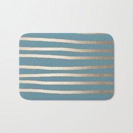 Abstract Drawn Stripes Gold Tropical Ocean Blue Bath Mat