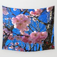 portland Wall Tapestries featuring Portland Sakura by Casey J. Newman