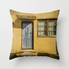 Orange industrial unit with peeling paint. Throw Pillow