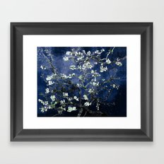 Vincent Van Gogh Almond Blossoms Dark Blue Framed Art Print