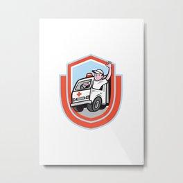 Ambulance Emergency Vehicle Driver Waving Shield Cartoon Metal Print