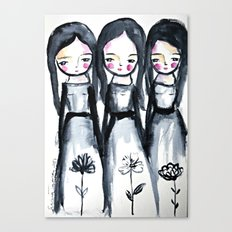 3 girls black and white Canvas Print