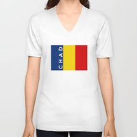 chad wys V-neck T-shirts featuring chad country flag name text by tony tudor