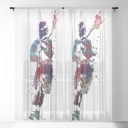 Lacrosse player art 2 Sheer Curtain