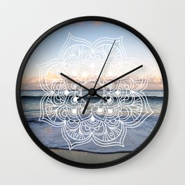 Flower shell mandala - shoreline Wall Clock