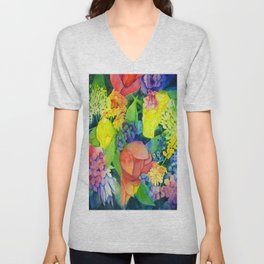 COTTAGE FLOWERS PAINTING Unisex V-Neck