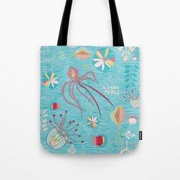 Sea Creatures Swimming in the Ocean Blue Tote Bag