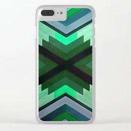 Navaho Vibes Geometric Pattern - Black Pine Aqua Clear iPhone Case