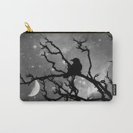 Black Bird Silhouette on Starry Night A492BW Carry-All Pouch