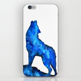 Howling Wolf | Space Wolf | Double Exposure Wolf | Wolf Painting | Blue Wolf iPhone Skin