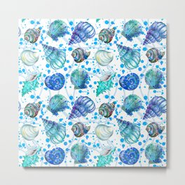 Seamless watercolor marine pattern. Endless texture. Hand draw. Collection of shells on white backgr Metal Print