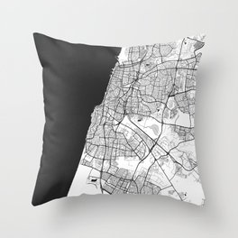 Tel Aviv Map Gray Throw Pillow