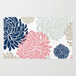 Floral Pattern Chrysanthemum, Blush Pink, Navy Blue Rug