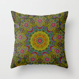Golden mandala Throw Pillow