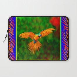 Decorative Flying Golden Blue Macaw Parrot  Black Green  Art Laptop Sleeve