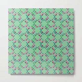 Triangle Circles Green Metal Print