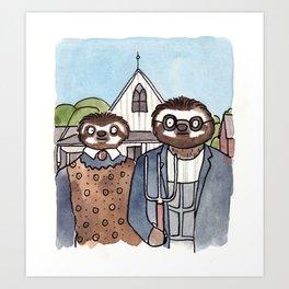 American Slothic  Art Print