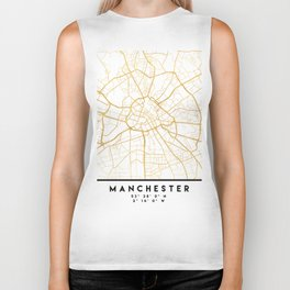 MANCHESTER ENGLAND CITY STREET MAP ART Biker Tank