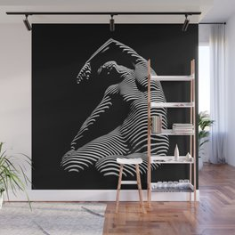 0077s-DJA Abstract Photograph of Seated Woman Striped by Light and Shade Wall Mural